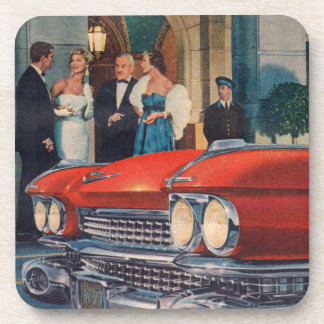 circa 1960 red Cadillac grille Beverage Coaster