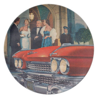 circa 1960 red Cadillac grille Dinner Plate