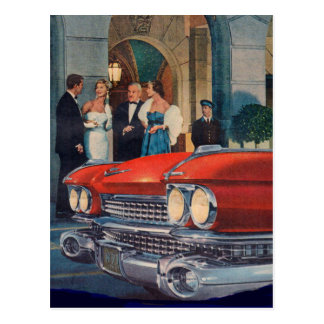 circa 1960 red Cadillac grille Postcard