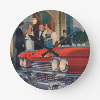 circa 1960 red Cadillac grille Round Clock