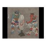 Circa arte japonés del siglo XIX Postal