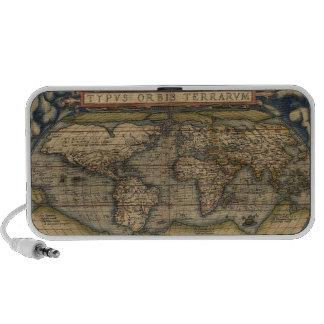 Circa el mapa del mundo 1570 de Ortelius Laptop Altavoz