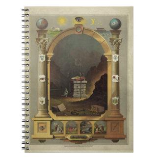 Circa imagen de impresión masónica de la litografí libreta espiral