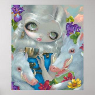 Circe and the Swine ART PRINT big eye fantasy