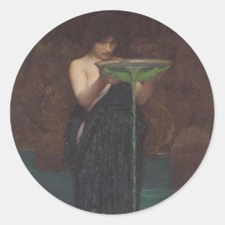 Circe Invidiosa by John William Waterhouse Classic Round Sticker