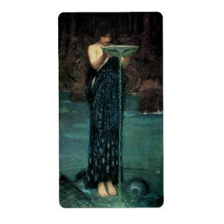 Circe Invidiosa by Waterhouse, Vintage Victorian Labels
