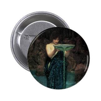 Circe Invidiosa, JW Waterhouse, Vintage Victorian Pinback Buttons
