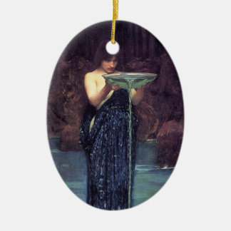 Circe Invidious - Circe with a Ponseive Bowl Double-Sided Oval Ceramic Christmas Ornament