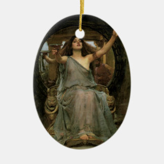 Circe Offering the Cup to Ulysses by JW Waterhouse Double-Sided Oval Ceramic Christmas Ornament