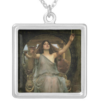 Circe Offering the Cup to Ulysses by JW Waterhouse Silver Plated Necklace