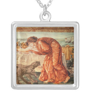 Circe Pouring Poison into a Vase Silver Plated Necklace