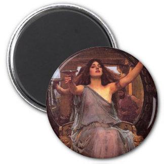 """""""Circe que ofrece la taza a Odiseo """" Imán Redondo 5 Cm"""