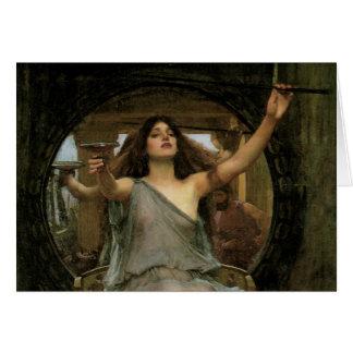 Circe que ofrece la taza a Ulises por el Tarjetas