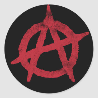 'circle a' anarchy symbol round sticker