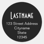 Circle Address Sticker Template - black