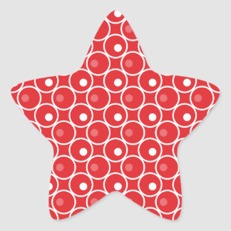 Circle and a Dot Star Shaped Stickers - Red