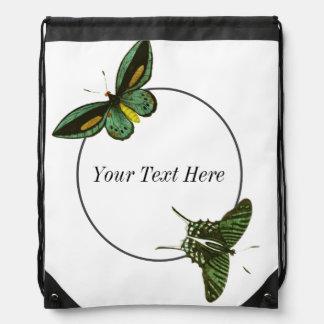 Circle And Green Butterflies Cinch Bags