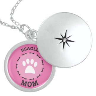 Circle Beagle Mom Badge Sterling Silver Necklace