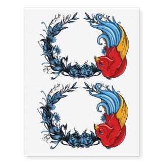 circle bird temporary tattoo x2