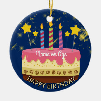 CIRCLE BIRTHDAY Cake with Stars & Sparklers Ceramic Ornament