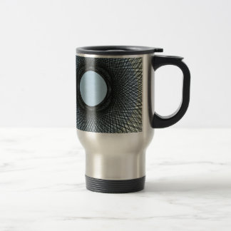 circle blend in harmonize with black abstract art travel mug