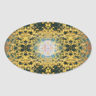 Circle Blossoms Oval Sticker