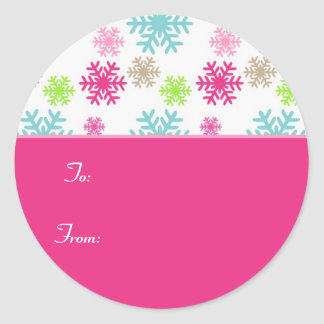 Circle Christmas Gift Tag Sticker Labels//Pink