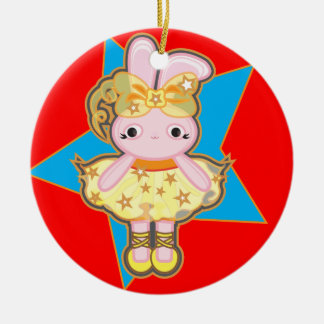 Circle Christmas tree ornament with dancer rabbit