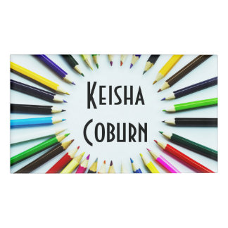 Circle colorful pencils / crayons + your ideas name tag