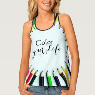 Circle colorful pencils / crayons + your ideas tank top