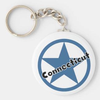 Circle Connecticut Basic Round Button Keychain