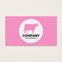 Circle - Cow - Pink Business Card