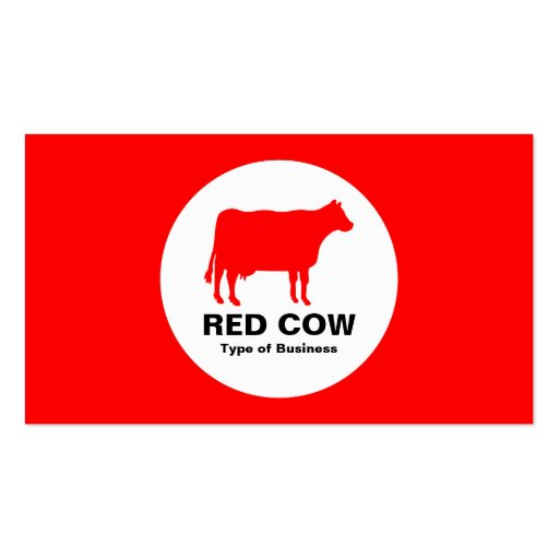 Circle - Cow - Red Business Cards