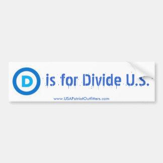 Circle D is for Divide U.S. Bumper Sticker Car Bumper Sticker