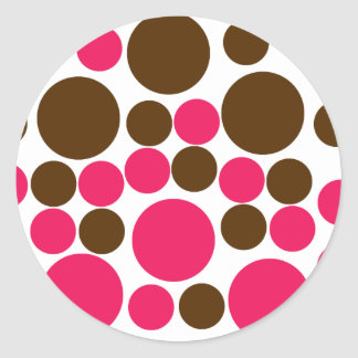 Circle Design Art Brown / Hot Pink Classic Round Sticker