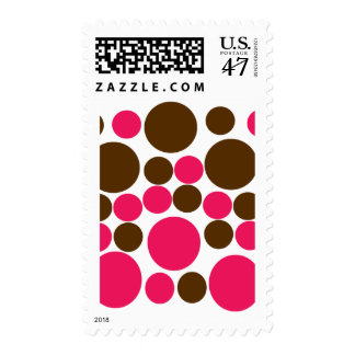 Circle Design Art Brown / Hot Pink Postage