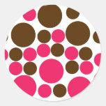 Circle Design Art Brown / Hot Pink Classic Round Sticker