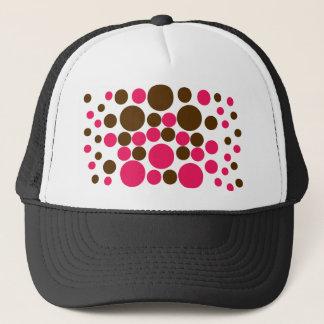 Circle Design Art Brown / Hot Pink Trucker Hat
