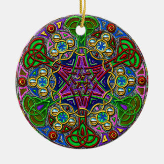 Circle Design Double-Sided Ceramic Round Christmas Ornament