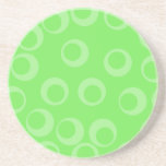 Circle design in green. Retro pattern. Beverage Coasters