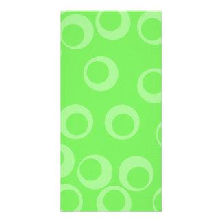 Circle design in green. Retro pattern. Custom Personalized Photo Card