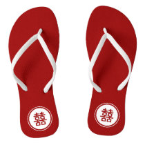 Circle Double Happiness Chinese Wedding Flip Flops