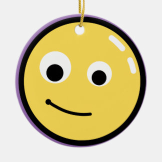 Circle Face Smile Ceramic Ornament