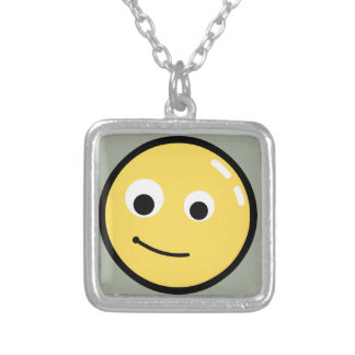 Circle Face Smile Silver Plated Necklace