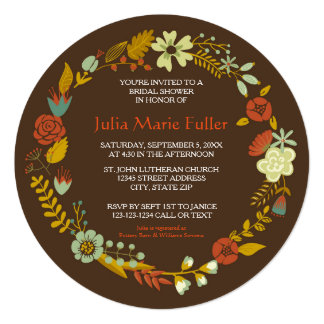 Circle Fall Wreath Design - Bridal Shower Invite