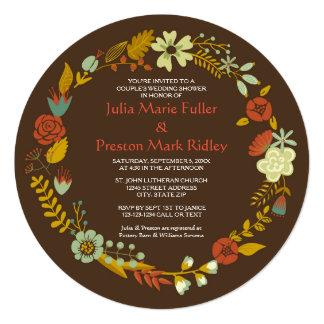 Circle Fall Wreath Design - Couple's Shower Invite