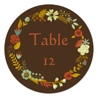Circle Fall Wreath Design - Table Numbers