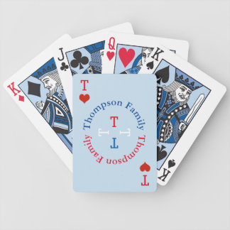 circle family name monogram red/blue bicycle playing cards