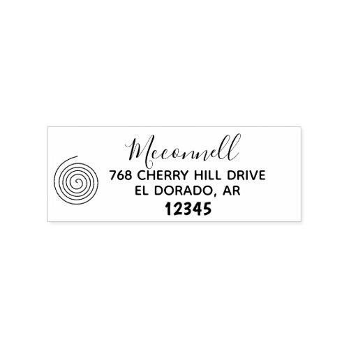 Circle family name return address rubber stamp