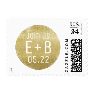 circle faux gold monogram wedding postage